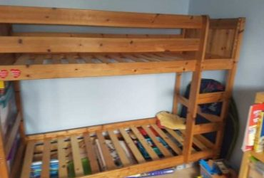 wooden bunk bed.