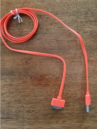 Apple Dock Connector to USB Cable for iPad Orange colour