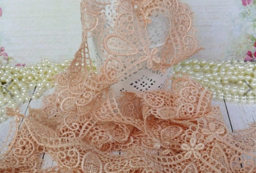 Gorgeous Embroidered Applique Lace Trim – Peach
