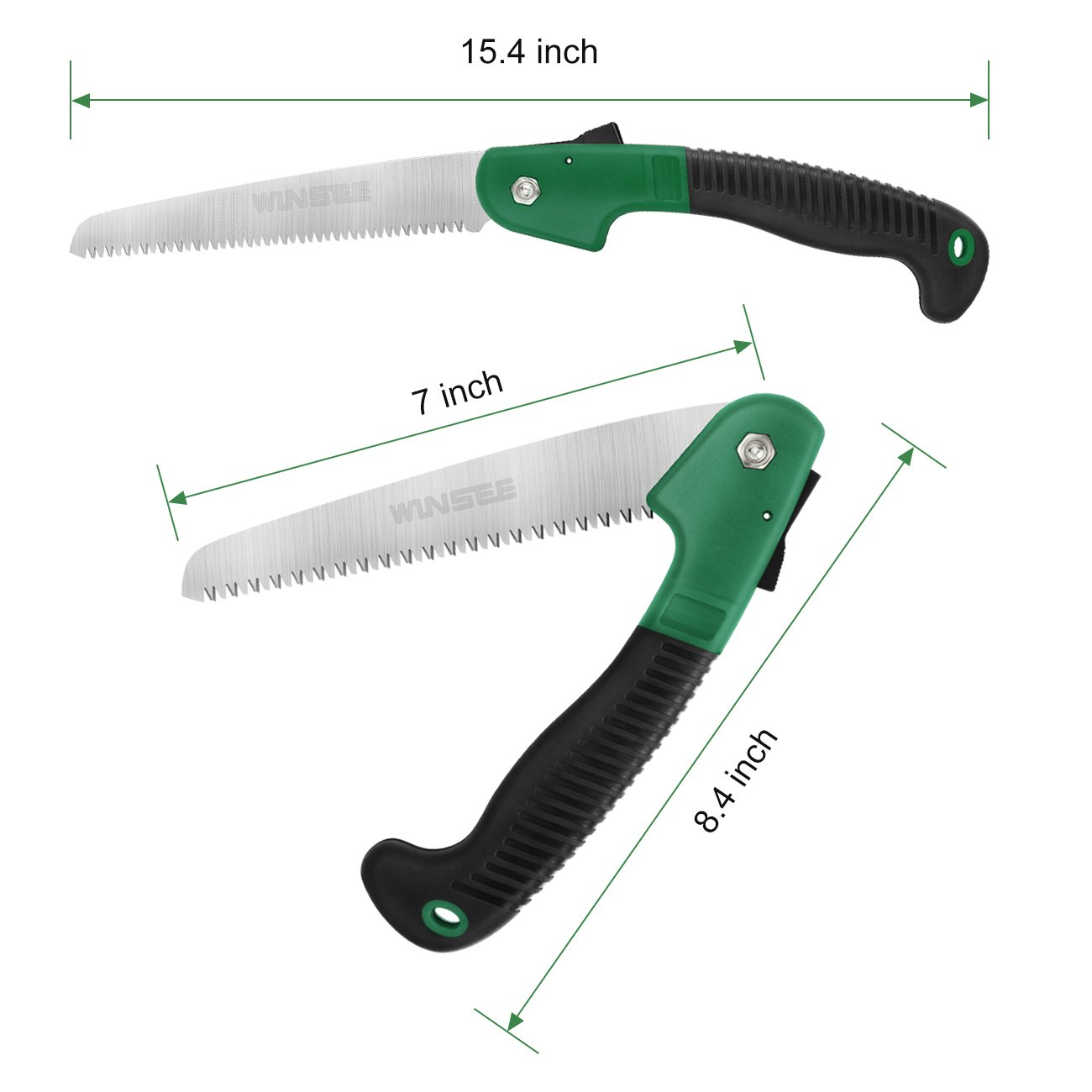 "WINSEE Folding Hand Saw, Pruning Saw with Rugged 7"" Blades for Tree Pruning, Hunting, Camping and Daily Use with Non Slip Ergonomics Handle Pruning Saws"