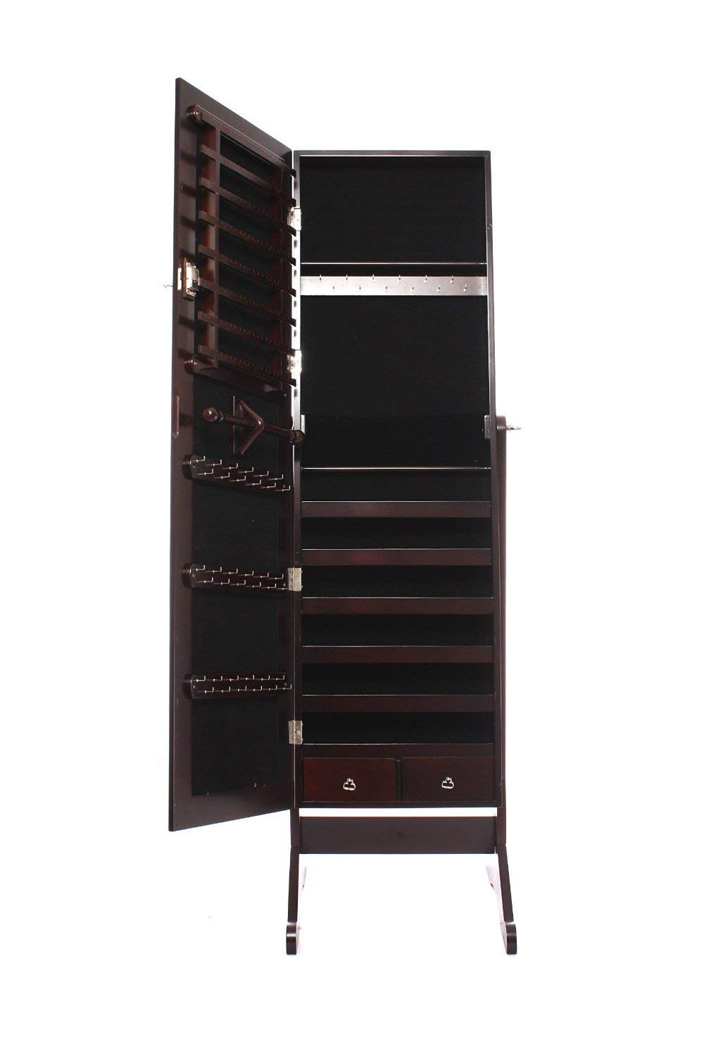 Best Square Products Mirrored Cabinet Armoire Espresso