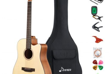 "Donner DAG-1C Beginner Acoustic Guitar Full Size, 41"" Cutaway Guitar Bundle with Gig Bag Tuner Capo Picks Strap String"