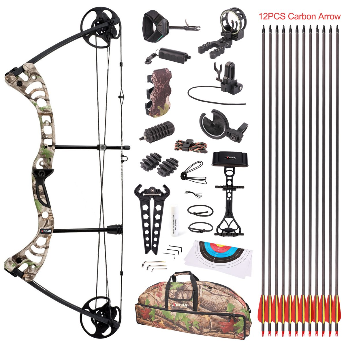 "Leader Accessories Compound Bow 30-55lbs 19"" – 29"" Archery Hunting Equipment with Max Speed 296fps, Right Handed"