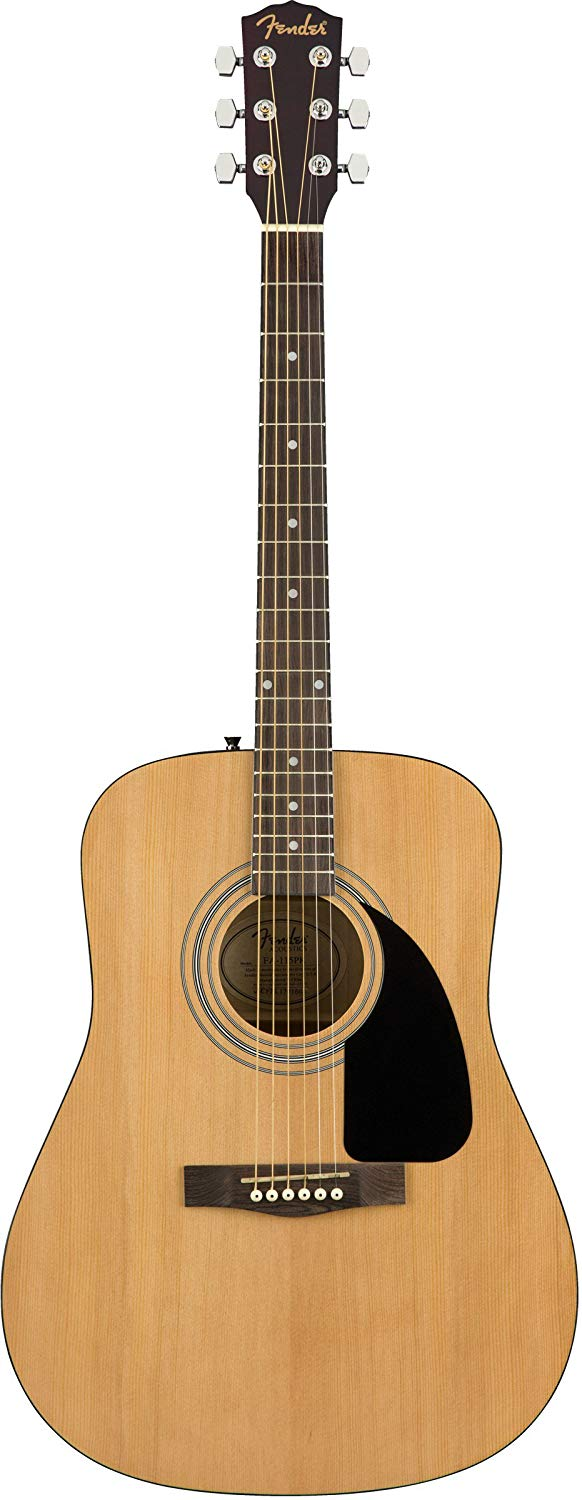 Fender FA-115 Dreadnought Acoustic Guitar – Natural Bundle with Hard Case, Tuner, Strings, Strap, and Picks