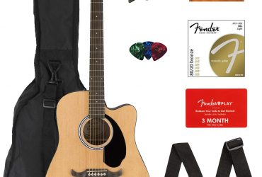 Fender FA-125CE Dreadnought Cutaway Acoustic-Electric Guitar Bundle with Gig Bag, Strap, Strings, Tuner, Picks, Fender Play Online Lessons, and Austin Bazaar Instructional DVD