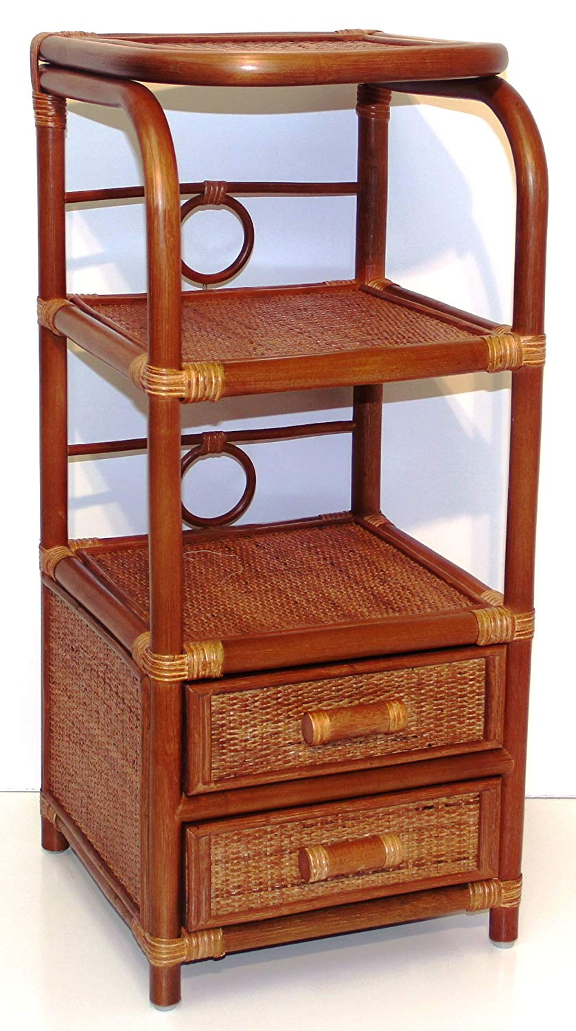 SunBear Furniture Handmade Bookcase Designer ECO Rattan Wicker with 2 Drawers, Cognac