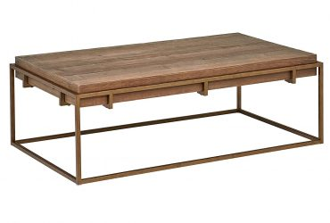 "Stone & Beam Sparrow Industrial Coffee Table, 55.1""W, Wood and Bronze"