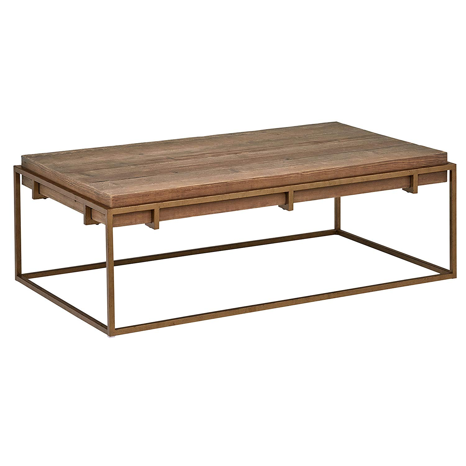 """Stone & Beam Sparrow Industrial Coffee Table, 55.1""""W, Wood and Bronze"""