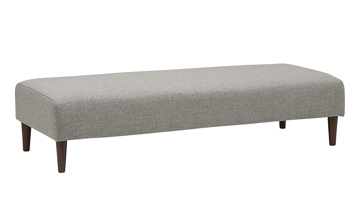 "Rivet Ava Mid-Century Ottoman Bench, 63""W, Light Grey"