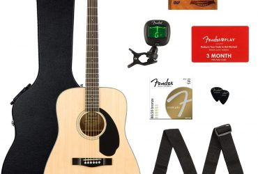 Fender CD-60S Dreadnought Acoustic Guitar – Natural Bundle with Hard Case, Tuner, Strap, Strings, Picks, Fender Play Online Lessons, and Austin Bazaar Instructional DVD