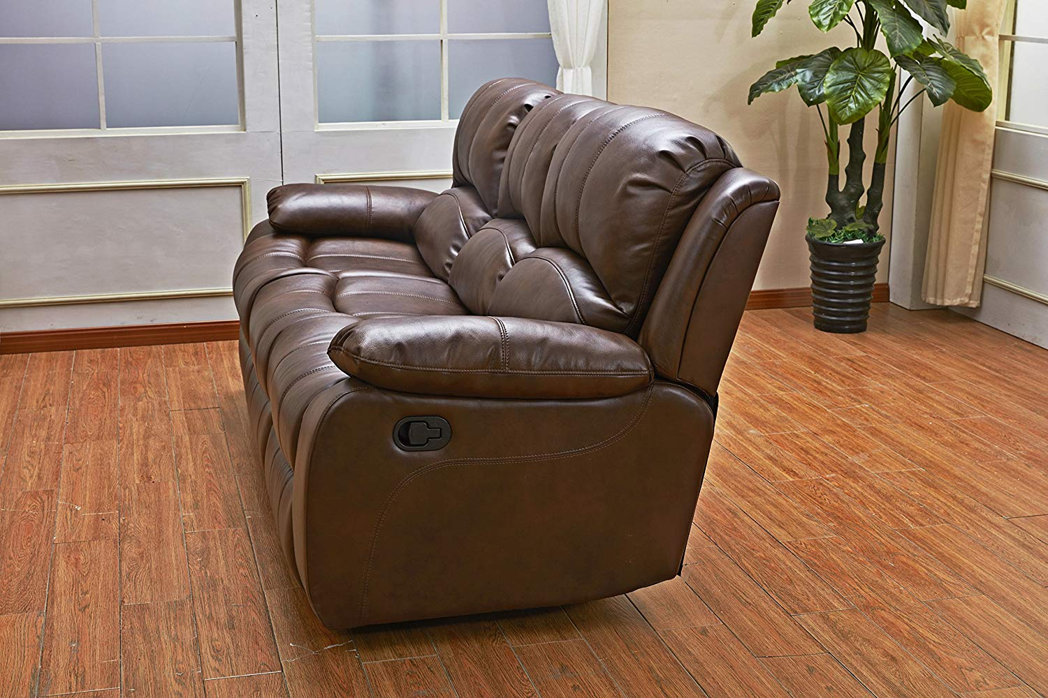 Betsy Furniture 3PC Bonded Leather Recliner Set Living Room Set in Brown, Sofa Loveseat Chair Pillow Top Backrest and Armrests 8018-Brown
